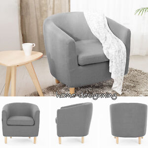 Image Is Loading Modern Grey Fabric Tub Bucket Chair Armchair Home