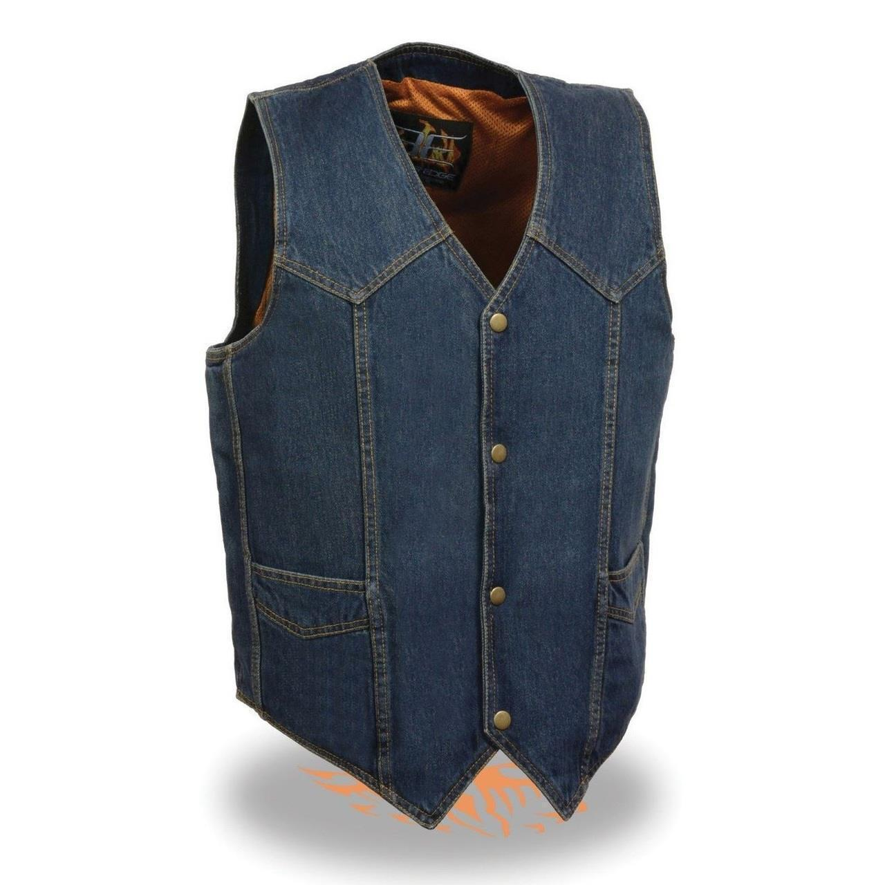 Herren MOTORCYCLE Blau COTTON DENIM VEST w/ SNAP BUTTONS - SA40