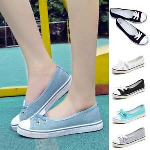222c07a02754 Women Shallow Mouth Shoes Girl Flat Slip On Canvas Shoes Casual Lace ...