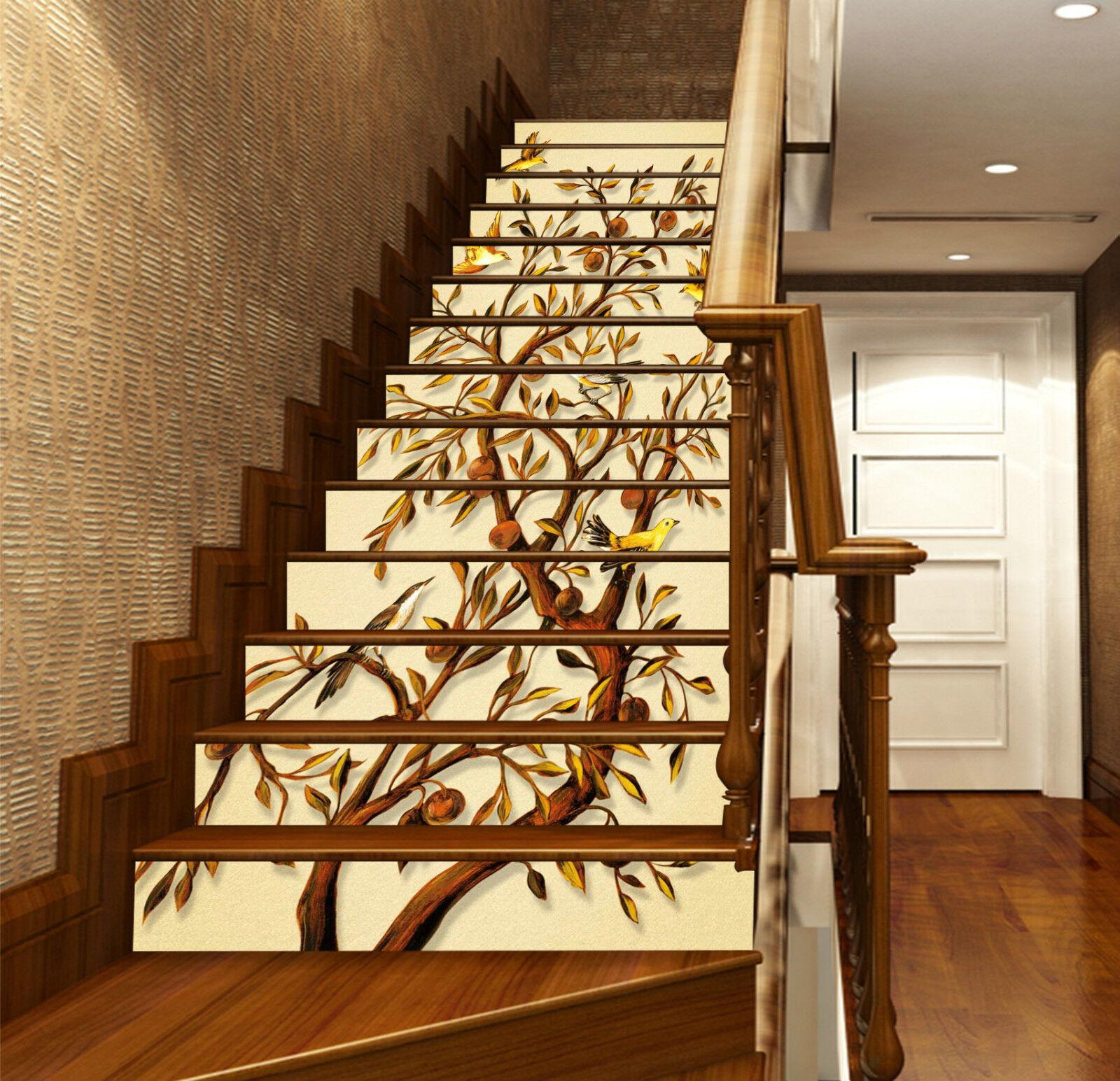 3D Obstbaum Vogel 1 Stair Risers Dekoration Fototapete Vinyl Aufkleber Tapete DE