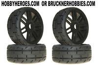 1:8 Grp Gt Rubber Gtx01-s3 Soft Tread Tires (4) Black Spoke Rims Free Ship