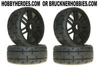 1:8 Grp Gt Rubber Gtx01-s7 Med/hard Tread Tires (4) Black Spoke Rims Free Ship