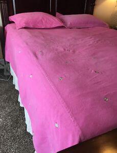 Pottery Barn Kids Pink Corduroy Ladybug Full Queen Duvet