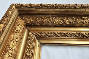 """ANTIQUE FITS 10 X15"""" GOLD PICTURE FRAME WOOD ORNATE FINE ART COUNTRY PRIMITIVE"""