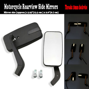 2X Black Motorbike Rear View Mirrors & LED Indicators Fit Honda Kawasaki Suzuki