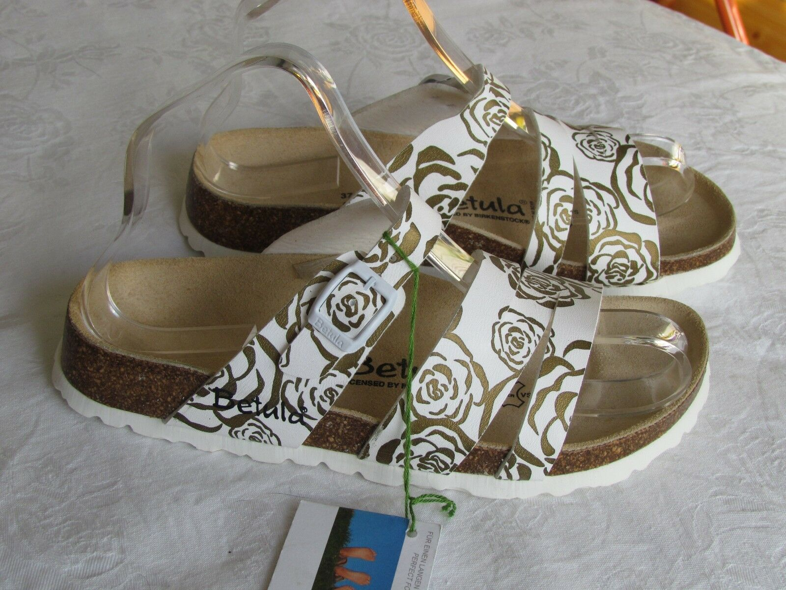 Último gran descuento NEW Betula By Birkenstock Ladies White Gold Floral Mules Sandals Size 4.5 EU 37