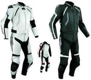 Tuta-Pelle-Moto-Racing-Pista-Sport-2-Pezzi-Divisibile-Giacca-Pantalone-A-Pro