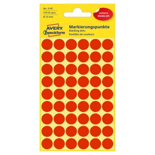 Avery Zweckform Klebepunkte Markierungspunkte Etiketten Ø 12,0mm 270 Stück rot!