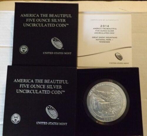Great Smokey Mountains 5 oz silver 2014 ATB coin with box and COA