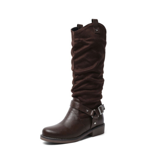Details about  /Occident  Womens Round Toes Flats Heel Mid-Calf Boots Winter Casual Shoes SUPEr