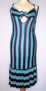 GAULTIER-ROBE-DRESS-BAYADERE-COROLLE-DECOLLETe-CHANGEANT-DOS-CROISe-T-38-42