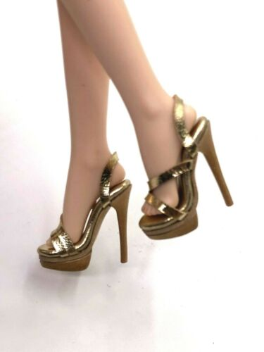 1//6 ooak Outfit Shoes Heels for Fashion Royalty NU.Face Integrity Doll Gold S25