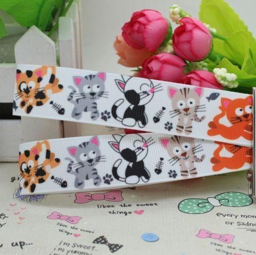 U Choose 1M,2M,3M,4M or 5M Cartoon Cat//Kittens Grossgrain Ribbon 22mm
