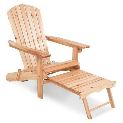 Adirondack Chair Outdoor Garden Folding Hardwood Wooden Pool Seat Plant Theatre