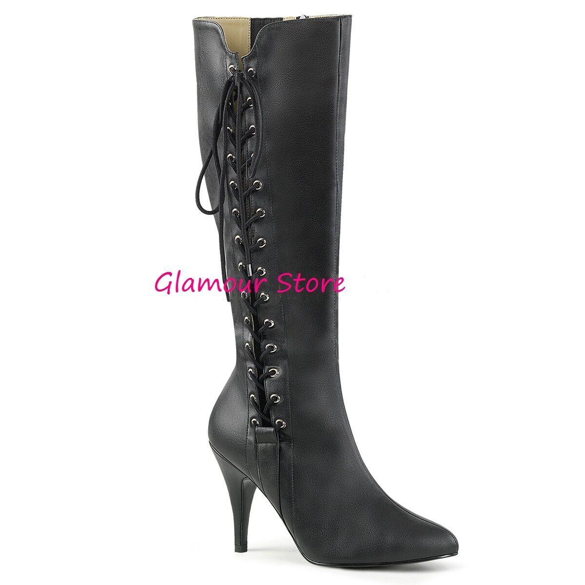 Grandes zapatos con descuento STIVALI tacco 10 cm NERO OPACO dal 39 al 47 ! laccetti ZIP scarpe SEXY GLAMOUR