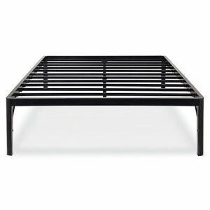 heavy duty 18 inch tall high rise metal platform bed frame w headboard brackets. Black Bedroom Furniture Sets. Home Design Ideas