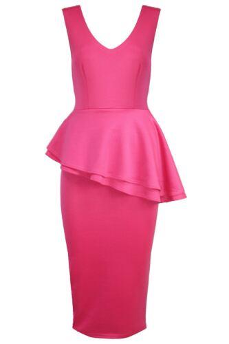 Womens Side Slant Sleeveless Frill Peplum Ladies Pencil Skirt Bodycon Midi Dress