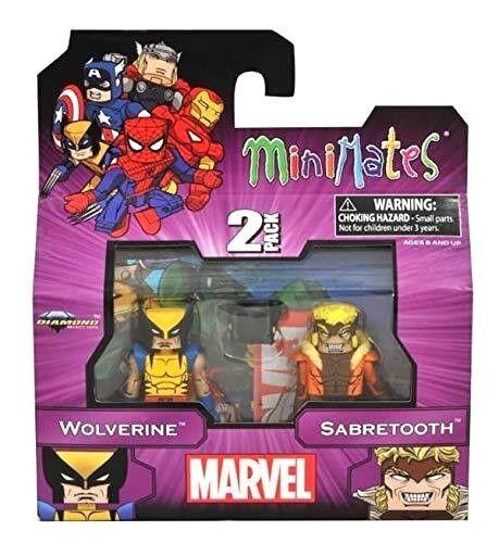 MARVEL MINIMATES meglio di Marvel-Wolverine e Sabretooth Confezione da 2 SERIE 1