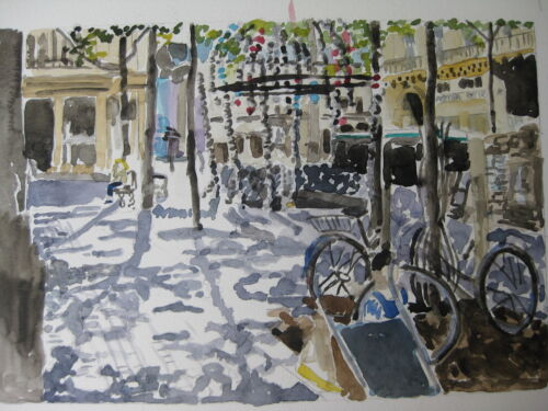 """Mimi France Watercolor Print// Right Bank with Bicycles 8/"""" x 11 7//8/"""" Paris"""