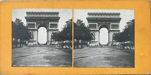 Parigi L'Arco di Triomphe Foto Pl36 Stereo Vintage Analogica c1900