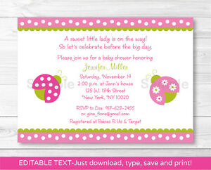 picture about Printable Baby Shower Invitations called Info more than Purple Environmentally friendly Lil Ladybug Printable Little one Shower Invitation Editable PDF