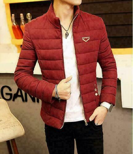 Men/'s Winter Collar Thick Padded Jacket Zipper Slim Outwear Coat Warm Fashion