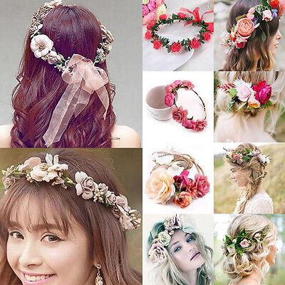 Boho Blumen Krone Haarband Geflochten Stirnband Blüte Blumenkranz Hochzeit Party