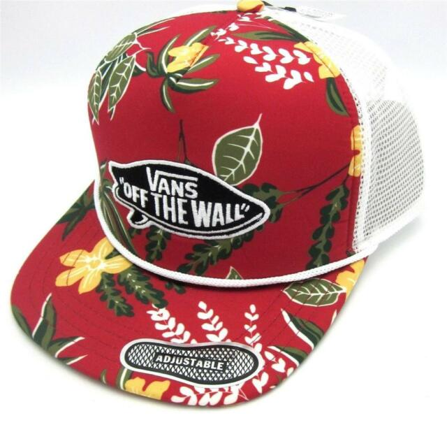 05023f9cdf9 Vans Off The Wall Surf Patch Adjustable Trucker Hat Mens Tropical Red Cap  NWT