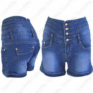 NEW-LADIES-HIGH-WAISTED-DENIM-HOT-PANTS-WOMENS-BLUE-JEANS-SHORTS-BUTTON-UP-JEAN