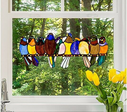 Song Birds Stained Glass Window Panel By River Of Goods 18 Inches For Sale Online Ebay