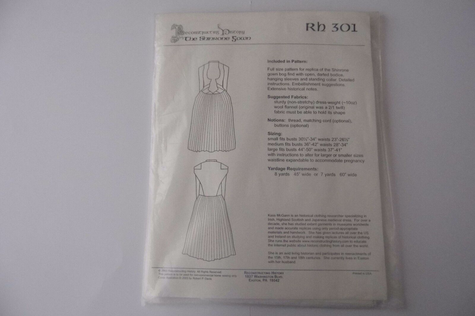 THE SHINRONE GOWN RECONSTRUCTING HISTORY.301. PAPER PATTERN. SENT FIRST CLASS.