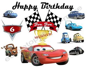 Edible image birthday cupcake toppers premium frosting sheets CARS
