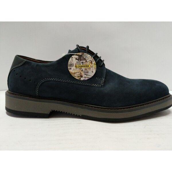 Scarpe Canguro Uomo scarpa Classica Vera Pelle Nabuk blu lacci gomma antiscivolo Scarpe classiche da uomo