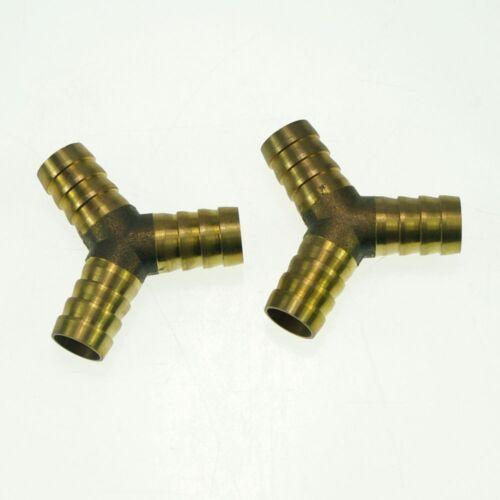LOT5 8mm Barbed Y 3 Ways Hose Brass Adapter Coupler