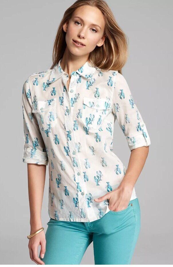 Woherren TORY BURCH Lobster Brigette Blouse Top Shirt sz. 0
