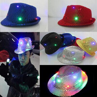 HAT LED Fedora Hat Light-Up Sequins Men Women Kids Novelty Blue Party HIGH QUALI