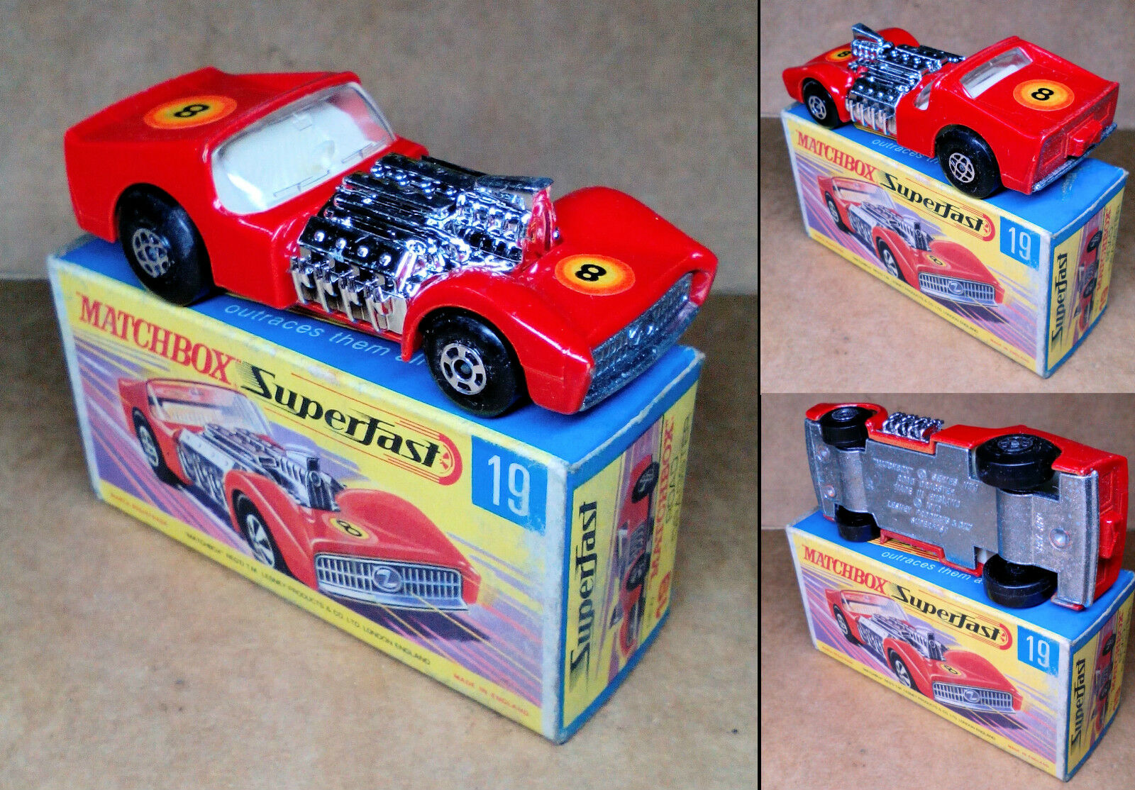 1 VINTAGE ('70s) MATCHBOX SUPERFAST - NO.19 -  ROAD DRAGSTER  - MINT IN BOX