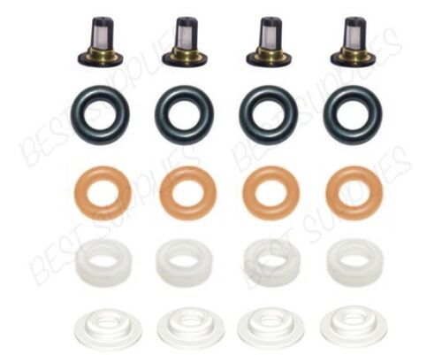 FUEL INJECTOR REPAIR KIT for 01-05 Honda Civic 1.7L-L4 Filters Oring Caps Keihin