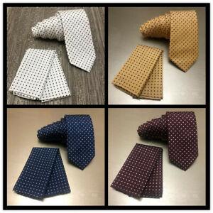 Polka-Dots-Skinny-Slim-2-75-034-Neck-Tie-And-Pocket-Square-Hankie-Set-Formal-Prom