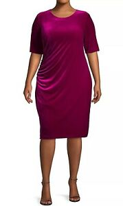 Details about VINCE CAMUTO Plus Size 16W Ruched Velvet Shift Dress Pink  Magenta NWOT