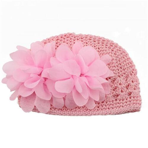 Baby Kinder Mädchen Blumen Stirnband Haarschmuck Haarband Strickmütze Hut