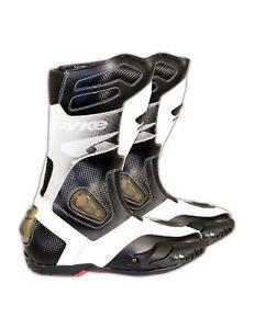 Spyke-Rocker-alle-seizoenen-mannen-waterdicht-racen-leer-motor-laarzen-zwart-wit