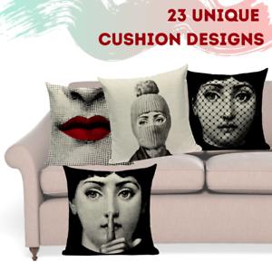 Fornasetti Style Pillow Case Cover Sofa Home Textile Vintage Cushion Linen Decor