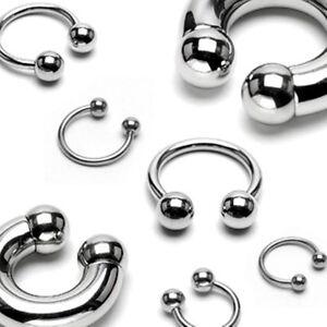 Horseshoe-Eyebrow-Lip-Ear-18-Gauge-5-16-034-Steel-3mm-Balls-Body-Jewelry
