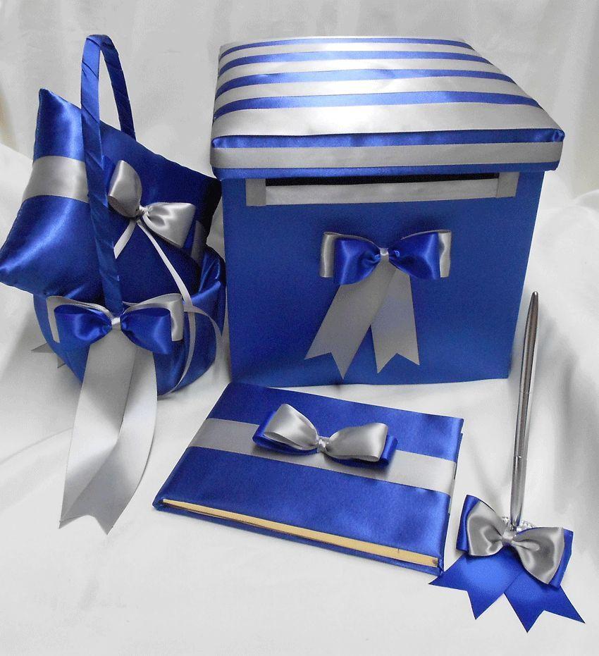 Bleu Royal Argent Bague De Mariage Coussin Flower Girl panier Livre d'or Stylo carte Box