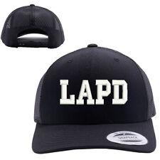 LAPD LOS ANGELES POLICE DEPT MESH TRUCKER SNAP CLOSURE CAP HAT BLACK