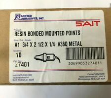 10 pack United Abrasives SAIT 27406 1x1x1//4 Type A38 Resin Bonded Mounted Points A36Q