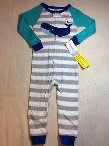 6b2b4aec0 Carter s Boys Footless Pajamas Whale with Zip Closure 12 M