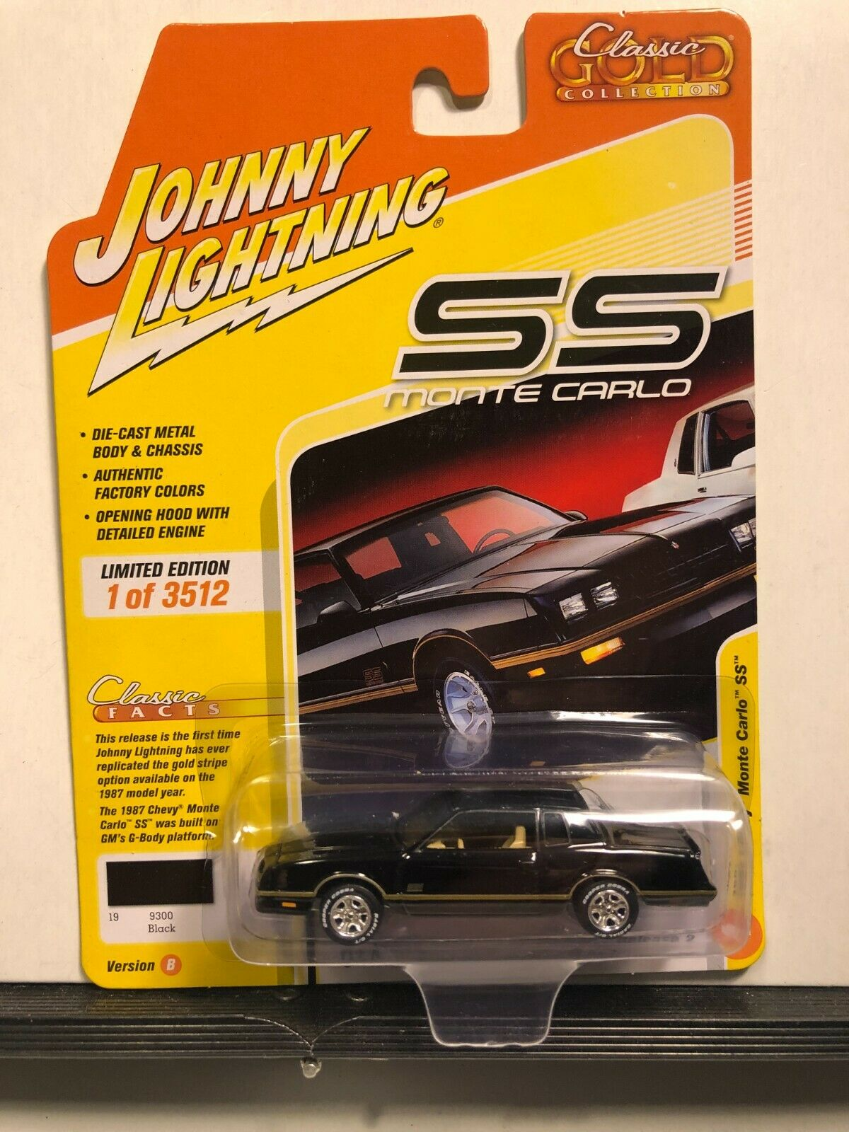 JOHNNY LIGHTNING 2020 2B CLASSIC GOLD BLACK 1987 CHEVY MONTE CARLO SS