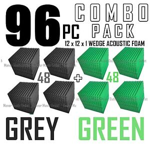 96-pack-Gray-and-Green-Acoustic-Wedge-Sound-Studio-Foam-12x12x1-soundproofing